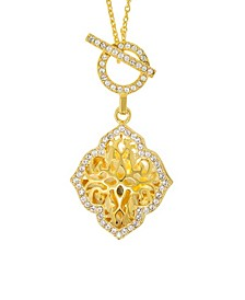 Katarina Photo Toggle Locket Necklace with Swarovski Crystals in 14k Yellow Gold over Sterling Silver (Also Available in 14k Rose Gold over Sterling Silver)