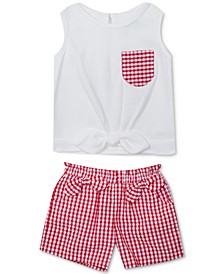 Baby Girls 2-Pc. Bow-Trim Top & Gingham Shorts Set