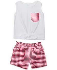 Rare Editions Baby Girls 2-Pc. Bow-Trim Top & Gingham Shorts Set