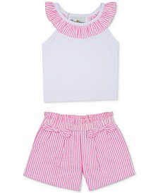 Rare Editions Baby Girls 2-Pc. Top & Seersucker Shorts Set