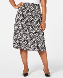 Kasper Plus Size Printed A-Line Skirt
