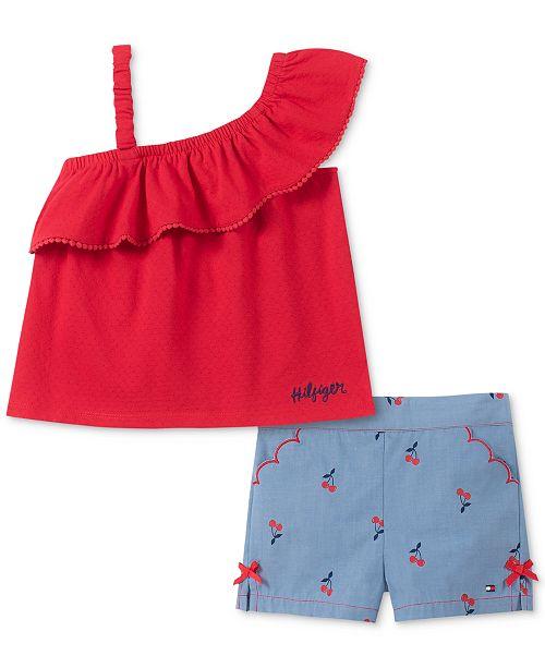 Tommy Hilfiger Baby Girls 2-Pc. One-Shoulder Top & Cherry-Print Shorts Set
