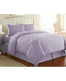 Ultra-Soft Solid Color 3-Piece Duvet Cover Set