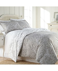 Southshore Fine Linens Winter Brush Reversible Floral Duvet and Sham Set, Twin/Twin XL