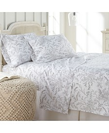 Southshore Fine Linens Winter Brush Floral Printed 4 Piece Sheet Set, Full