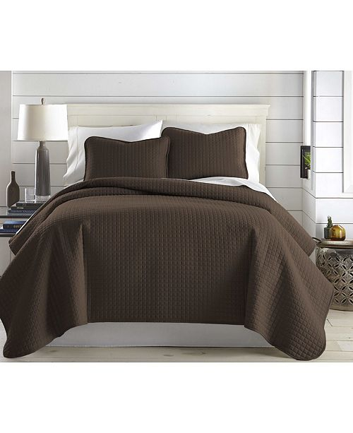 Southshore Fine Linens Oversized Solid 3 Piece Quilt and Sham Set, Full/Queen