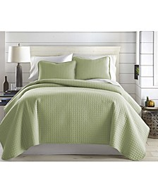 Oversized Solid 3 Piece Quilt and Sham Set, Twin/Long
