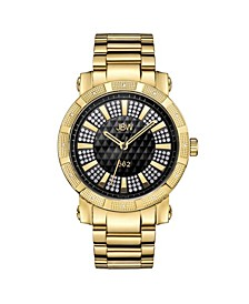 "Men's ""562"" Diamond (1/8 ct.t.w.) 18k Gold Plated Stainless Steel Watch"