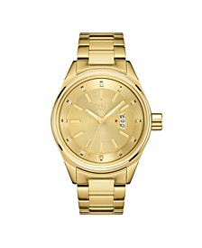 Men's Rook Diamond (1/8 ct.t.w.) 18k Gold Plated Stainless Steel Watch
