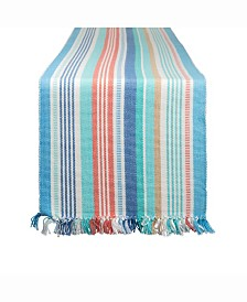 "Seashore Stripe Fringed Table Runner 13"" X 72"""