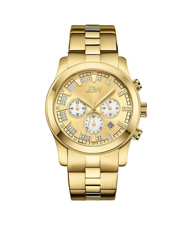 Jbw Men's Delano Diamond (1/5 ct.t.w.) 18k Gold Plated Stainless Steel Watch