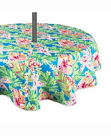 """Summer Floral Outdoor Table cloth with Zipper 60"""" Round"""