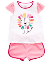 59098674fa57b First Impressions Baby Girls Lion Top & Dolphin Shorts, Created for Macy's