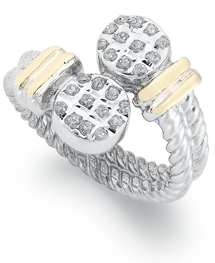 Macy's - 14k Gold and Sterling Silver Ring, Diamond Accent Cable Bypass Ring