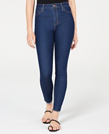 Tinseltown Juniors' High-Rise Raw-Hem Skinny Jeans