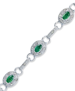 Sterling Silver Bracelet, Emerald (2 ct. t.w.) and Diamond (1/4 ct. t.w.) Oval Link Bracelet
