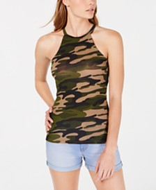 Planet Gold Juniors' Racerback Camo Print Tank Top