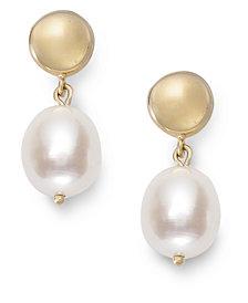 14k Gold Earrings, Cultured Freshwater Pearl Earrings (13mm)