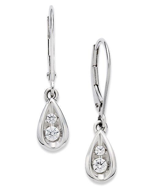 Diamond Teardrop Earrings In 14k White Gold 1 4 Ct T W