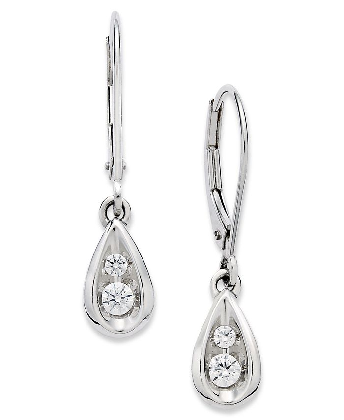 Macy's - Diamond Teardrop Earrings in 14k White Gold (1/4 ct. t.w.)