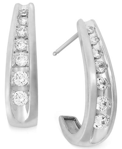 Channel-Set Diamond J Hoop Earrings in 14k White Gold (1/2 ct. t.w.)