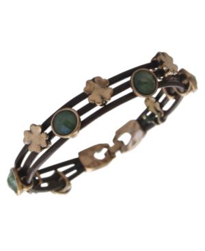 Lucky Brand Bracelet, Gold-Tone Jade Stone Woven Leather Bracelet