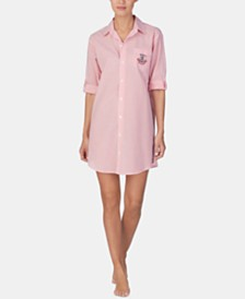 Lauren Ralph Lauren Roll-Sleeve Cotton Sleepshirt