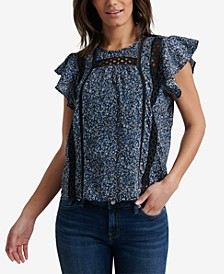 Inset-Trim Flutter-Sleeve Top