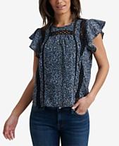 734183208926aa Lucky Brand Inset-Trim Flutter-Sleeve Top