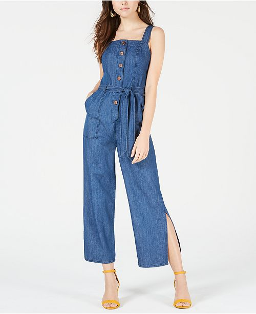 OAT Cotton Wide-Leg Denim Jumpsuit