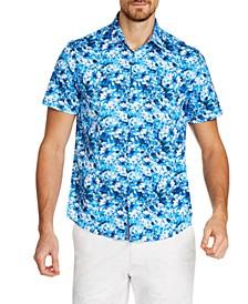 Men's Slim-Fit Stretch Floral Short Sleeve Shirt