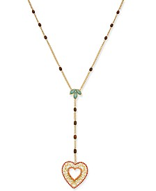 "Thalia Sodi Gold-Tone Multi-Stone Heart Lariat Necklace, 20"" + 3"" extender, Created for Macy's"