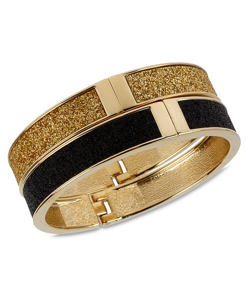 Betsey Johnson Gold and Black Glitter Bangle Bracelet Set