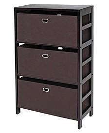 Torino 4-Pc Set Storage Shelf with Black Fabric Baskets