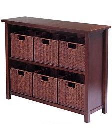 Winsome Milan 7Pc Storage Shelf with Baskets, One Cabinet and 6 Small Baskets, 3 Cartons