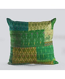 Peacock Kantha Throw Pillow