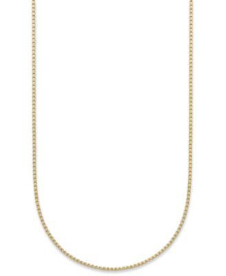 "18K Gold over Sterling Silver Necklace, 30"" Box Chain"