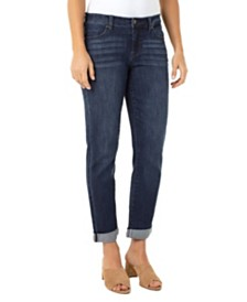 Peyton Slim Boyfriend In Vintage Stretch Denim with Destruct Detail