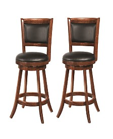"Antoine 24"" Swivel Counter Stools with Upholstered Seat (Set of 2)"