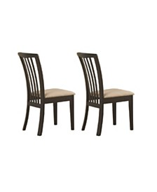 Aniello Slat Back Side Chairs with Upholstered Seat (Set of 2)