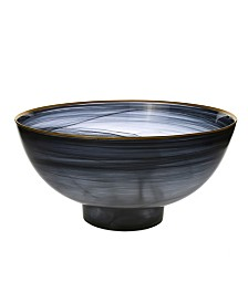 """Classic Touch 10.5"""" Black Alabaster Bowl with Base"""