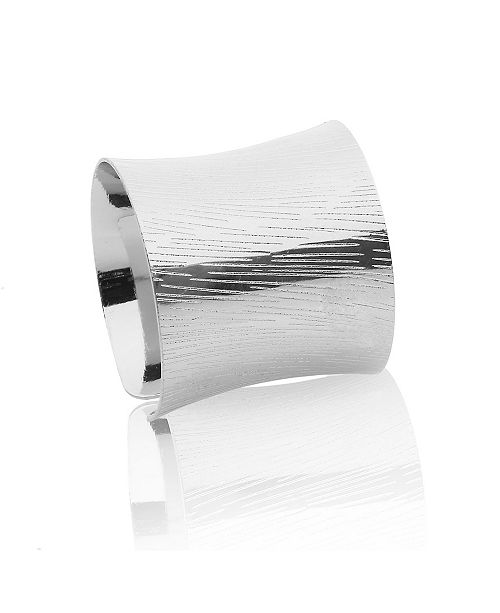 Classic Touch Set of 6 Silver Napkin Rings