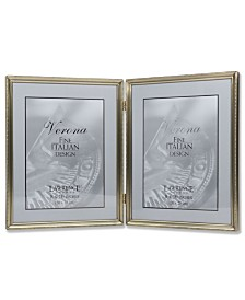 "Lawrence Frames Antique Brass Hinged Double Picture Frame - Bead Border Design - 8"" x 10"""