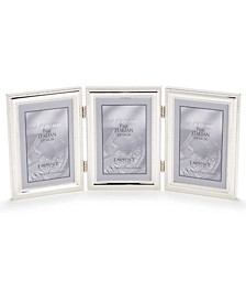 "Hinged Triple Metal Picture Frame Silver-Plate with Delicate Beading - 4"" x 6"""