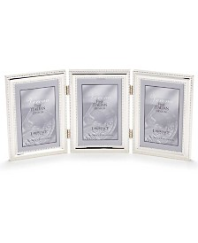 "Lawrence Frames Hinged Triple Metal Picture Frame Silver-Plate with Delicate Beading - 4"" x 6"""