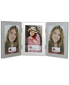 """Lawrence Frames Brushed Silver Hinged Triple Metal Picture Frame - 4"""" x 6"""""""
