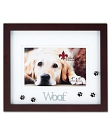 "Walnut Wood Woof Picture Frame - Matted Shadow Box Dog Frame - 4"" x 6"""