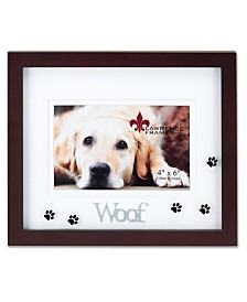 """Lawrence Frames Walnut Wood Woof Picture Frame - Matted Shadow Box Dog Frame - 4"""" x 6"""""""