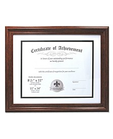"Dual Use Walnut 11"" x 14"" Certificate Picture Frame with Double Bevel Cut Matting For Document - 8.5"" x 11"""