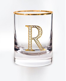 Qualia Glass Monogram Rim and Letter R Double Old Fashioned Glasses, Set Of 4